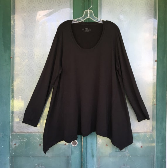 FLAX Engelhart Flax-In-Motion Scoop Neck Tunic -L- Black Rayon/Spandex Jersey