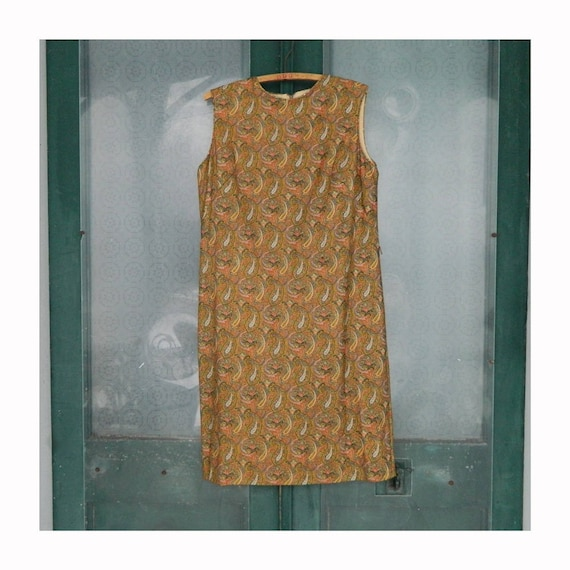 RESERVED Vintage 1960s Sleeveless Paisley Sparkle Shift by Jonathan Logan -M/L- Orange/Gold/Green