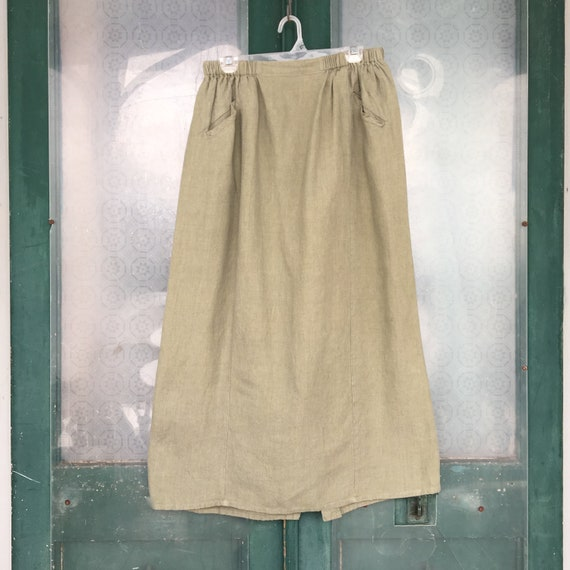 FLAX Engelhart Basic 2003 Panel Skirt -L- Jade Green Linen