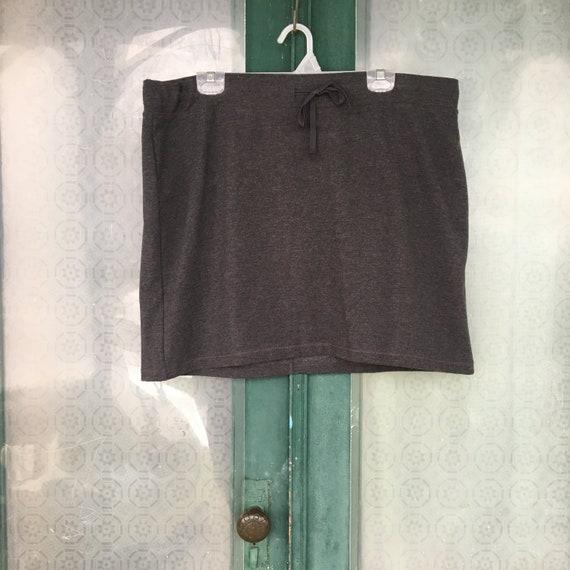 J. Jill Short Drawstring Skirt -XL- Dark Charcoal Gray Cotton Poly Spandex NWT