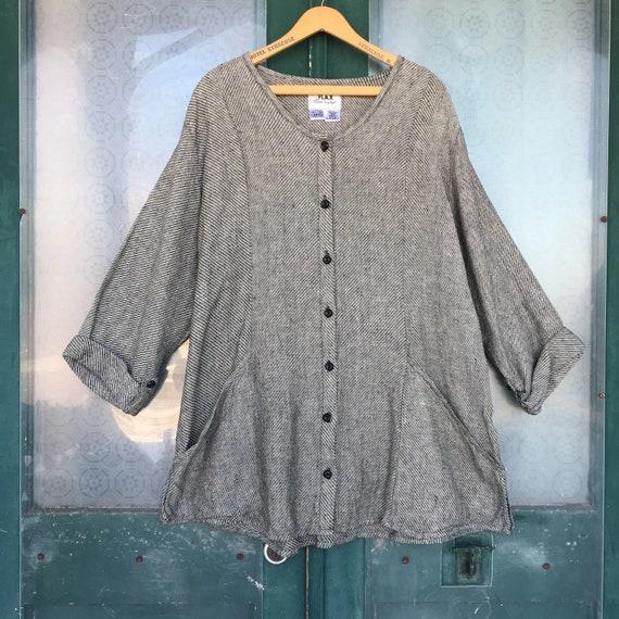FLAX Engelheart Temperate 2000 Satisfying Shirt -L- Black Cream Stripe Linen