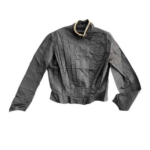Victorian Black Shirtwaist Blouse with White Neckl