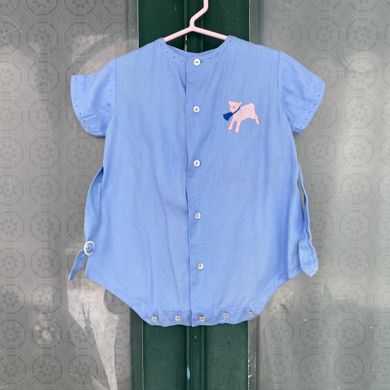 Vintage Child's Cotton Romper with Applique Lamb