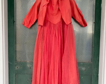 Vintage 1950s Strapless Ball Gown with Matching Jacket