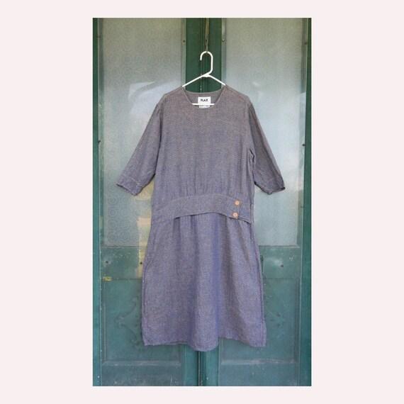 FLAX Engelheart Twenties Theme Dress -S- Antique Blue Linen