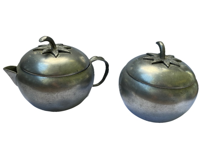 Vintage Queens Art Pewter Tomato Cream and Sugar Bowls with Lids
