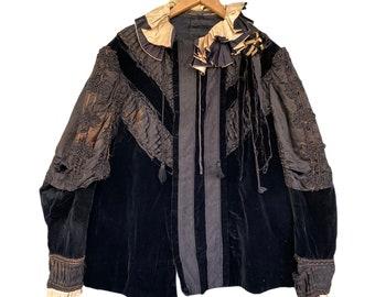 Victorian Heavy Velvet and Silk Jacket with Beading