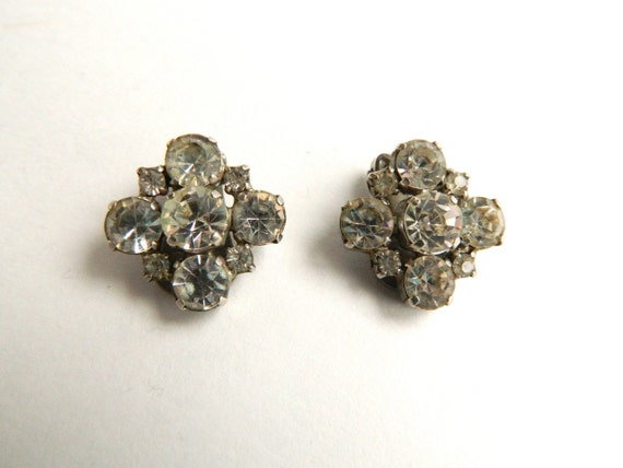 Vintage La Rel Crystal Rhinestone Clip-On Earrings