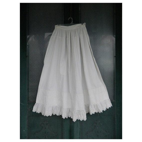 Edwardian Vintage White Cotton Long Petticoat Slip with Eyelet Hem