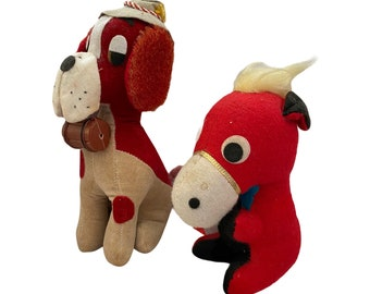 Pair of Red Vintage Stuffed Animals Horse and Dog