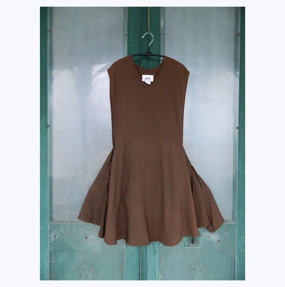 FLAX Engelheart Short Pinafore Dress from Premier 1997 in Chocolate Check Rayon/Acetate