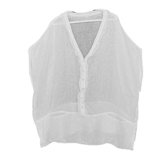 CP Shades Oversized Linen Gauze Cover Up Top -L- White