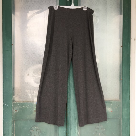 J. Jill Wide Leg Pants -L- Dark Charcoal Gray Rayon Spandex