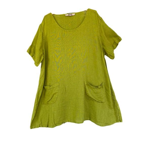 FLAX Short-Sleeve A-Line Pocket Tunic -2G/2X- Green Linen Gauze