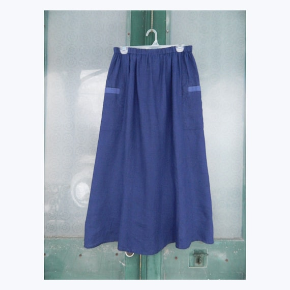 FLAX Designs Twill Trim Skirt -M- Blue Light Weight Linen