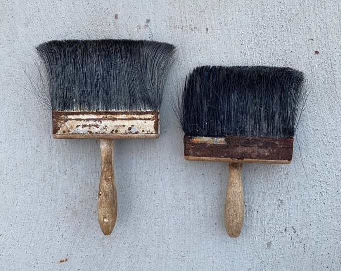 Pair of Large Vintage Used House-painting Brushes