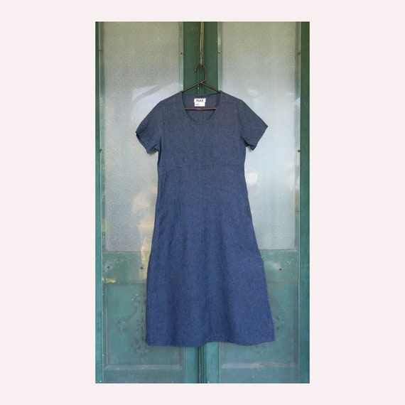 FLAX Engelheart Short Sleeve Dress -S- Indigo Linen