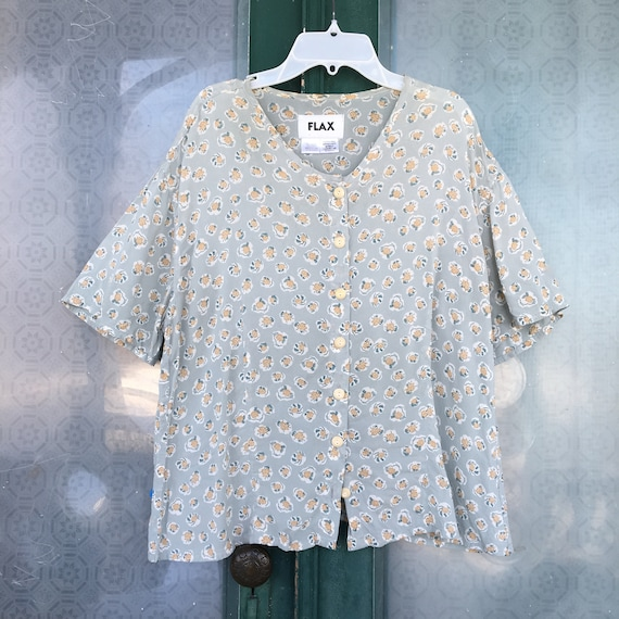 FLAX Engelhart Vintage 2002 Basically Buttoned Blouse -M- Blue Petal Rayon