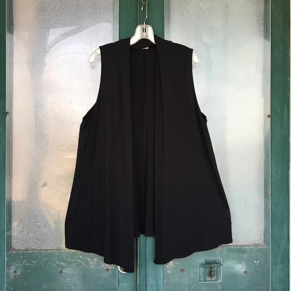 J. Jill Open Front Vest -L- Black Rayon Spandex