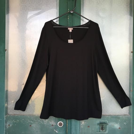 J. Jill Scoop Neck Long Sleeve Tee -L- Black Rayon Spandex NWT