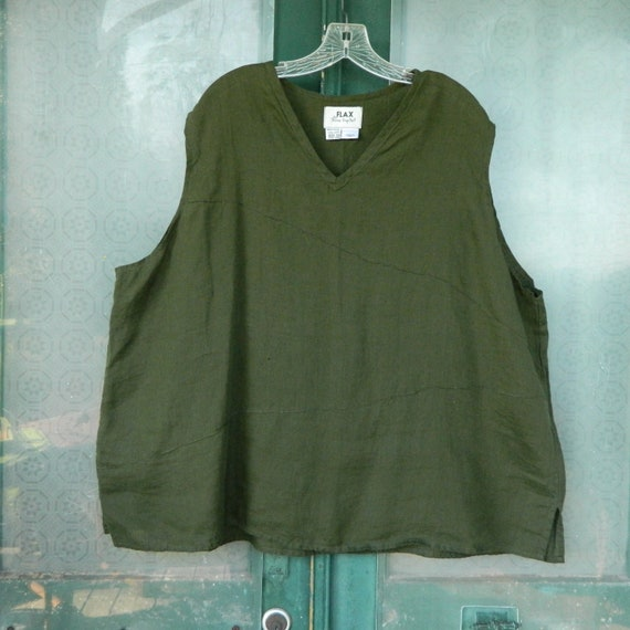 FLAX Basic 1999 Triangle Tank -3G/3X- Evergreen Hank Linen