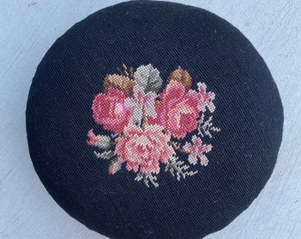 Antique Floral Needlepoint Foot Rest
