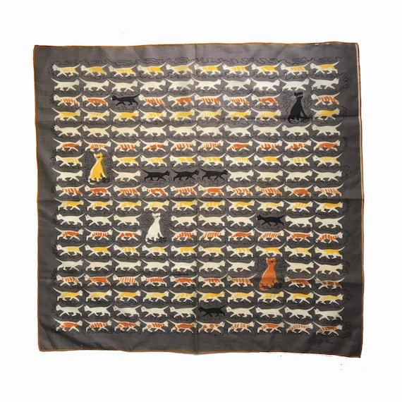 "Vintage Tammis Keefe Cat Handkerchief 20"" Square"