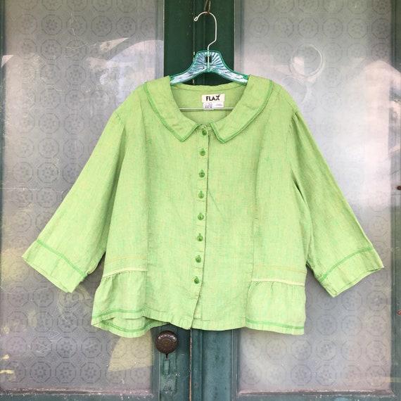 FLAX Engelhart Soleil 2005 3/4 Sleeve Peplum Blouse -1G/1X- Yarn-Dyed Apple Green Linen