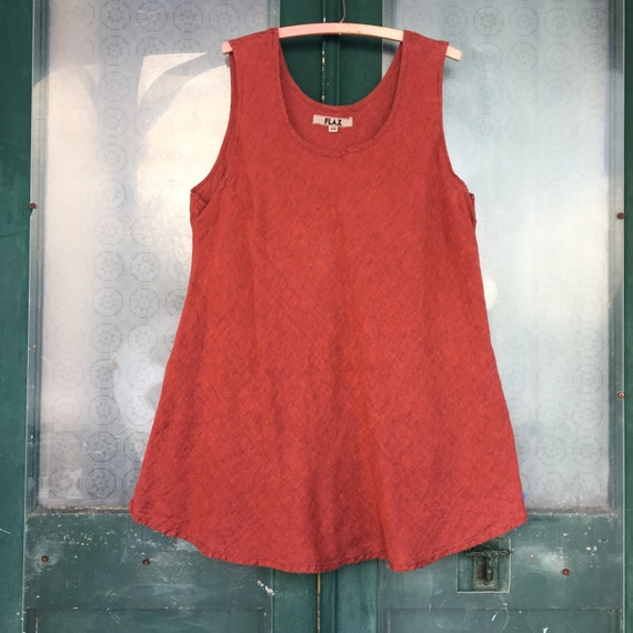 FLAX Designs Sleeveless Bias Tank -2G/2X- Yarn-Dyed Red Linen