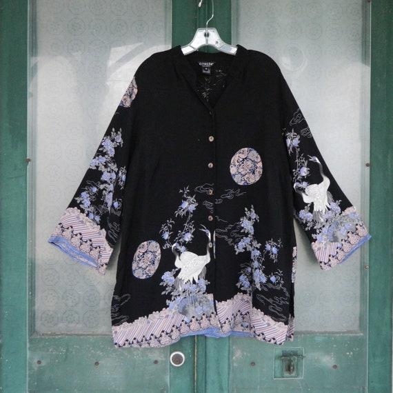 Citron Big Shirt -1X- Black with Asian-Theme Landscape on Silk