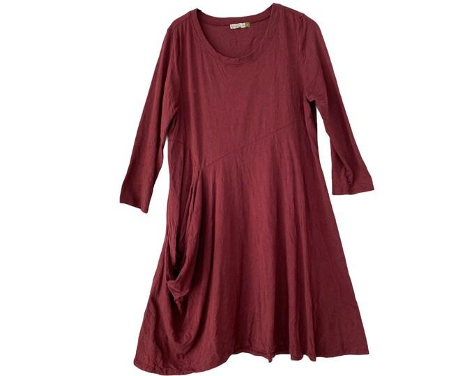 Chalet et ceci Cotton Blend Jersey Dress -S- Maroon