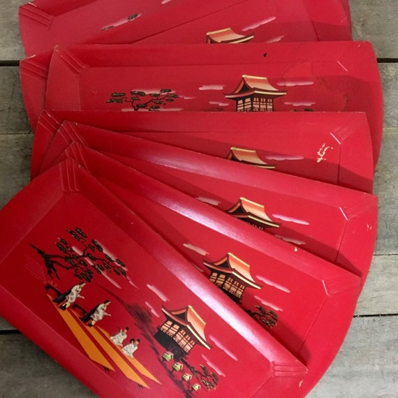 Vintage Haskelite Set of 7 Asian-Theme Red Trays