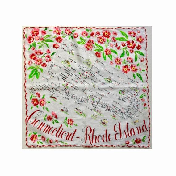 Vintage Connecticut Rhode Island Handkerchief