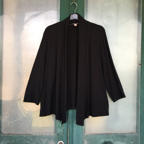 J. Jill Open Front Cardigan Jacket -L- Black Rayon Spandex