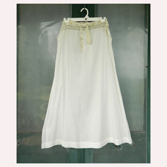 Vintage Edwardian White Cotton Petticoat Slip with Lace Waist and Satin Ribbon