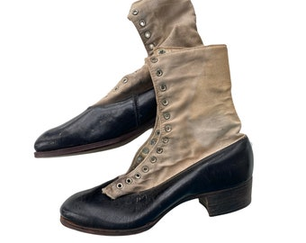Edwardian Girls Leather and Canvas Boots as is