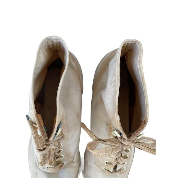 Edwardian Lace Up White Canvas Boots - image 7