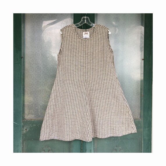 FLAX Engelheart Soleil 1998 Sleeveless Dress -L- Neutral Plaid Linen Seersucker