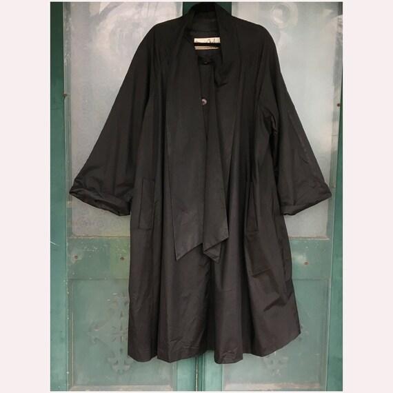 Long Black Plus Size Coat by Bonnie Cashin Weatherwear for Russ Taylor