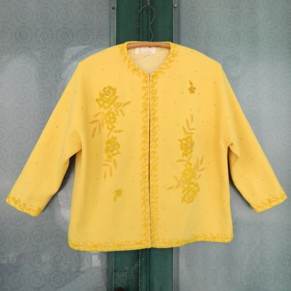 Vintage Sandra Post Beaded Sweater in Bright Yellow M/L