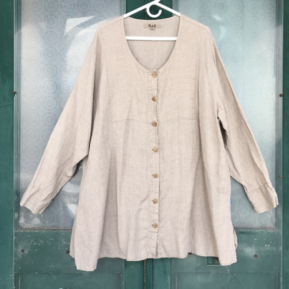 FLAX Engelhart Button-Front Tunic Shirt -3G/3X- Natural Linen