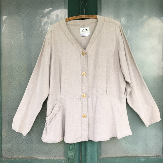 FLAX Engelheart Basic 1999 Retro Edwardian Ladylike Jacket -M- Natural Linen
