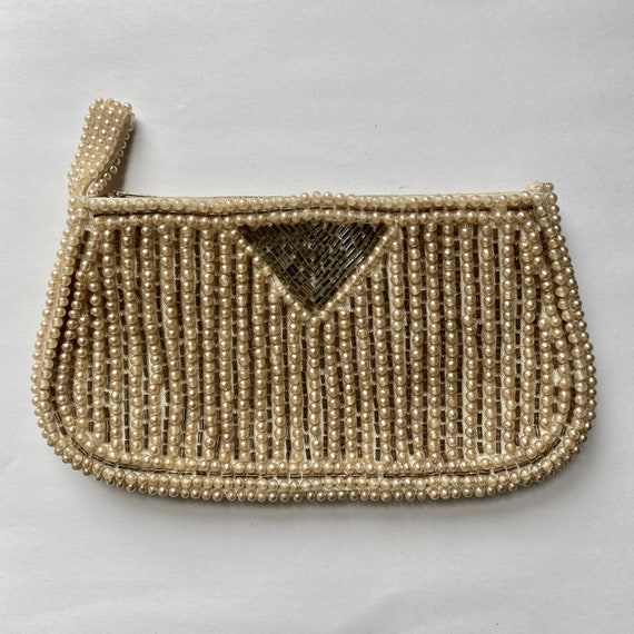 Vintage Zippered Pearl and Silver Bead Clutch Cosmetic Bag by Miranda