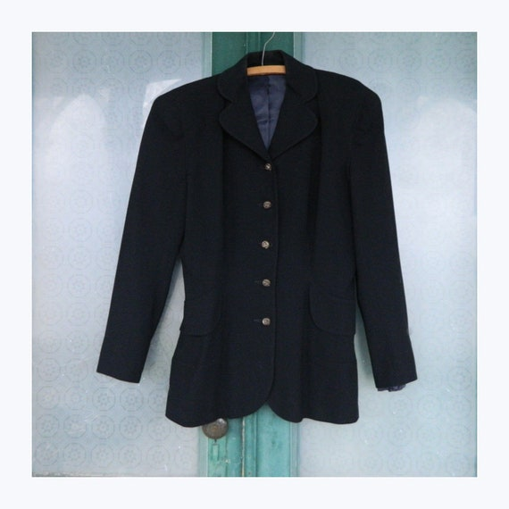 Retro 1940s Slim Suit Jacket S/M Black Wool with Satin Lining