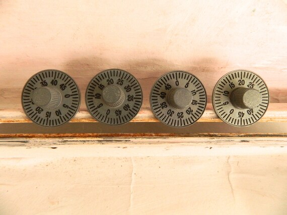 Vintage Post Office Box Numbered Dial Knobs Drawer Pulls