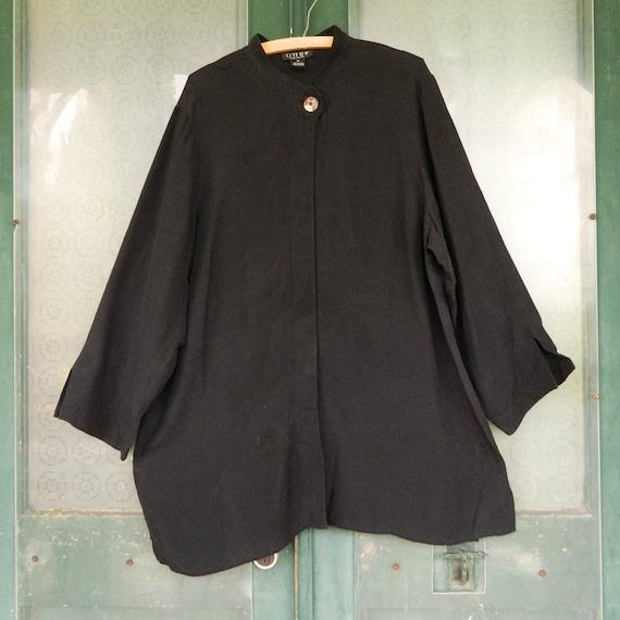 Citron Long-Sleeve Blouse -1X- Black Damask Silk