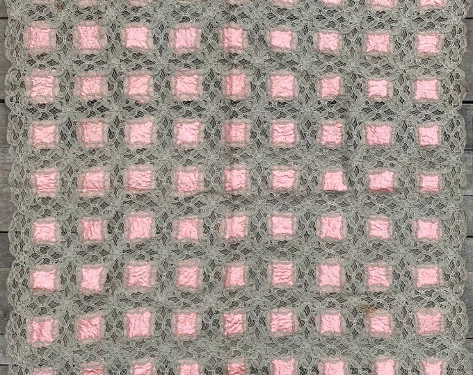 """Lace and Silk Coverlet 31"""" Square"""