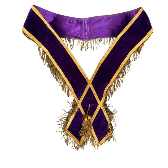 Vintage Order of Eastern Star Purple Velvet Sash
