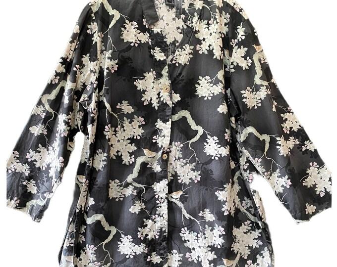 Citron Asian-Theme Shirt Jacket -1X- Cotton
