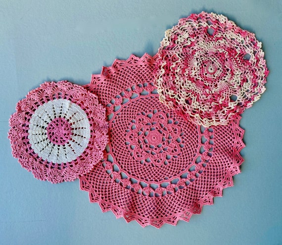 Trio of Vintage Pink Doilies